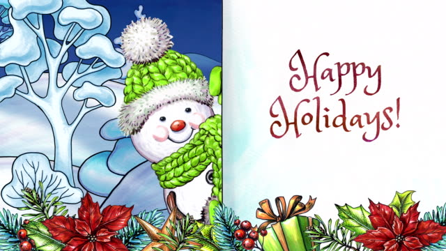 watercolor animated cartoon snowman, happy holidays greeting card, winter landscape, festive garland and ornaments, handwritten text - happy holidays stock videos & royalty-free footage
