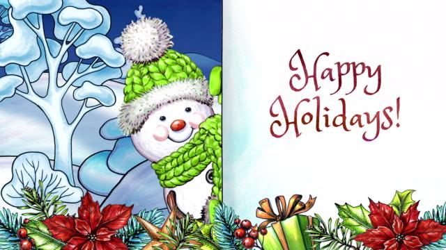 vídeos y material grabado en eventos de stock de muñeco de nieve de acuarela de dibujos animados felices fiestas tarjetas de felicitación, paisaje de invierno, guirnalda festiva y ornamentos, texto escrito a mano - happy holidays