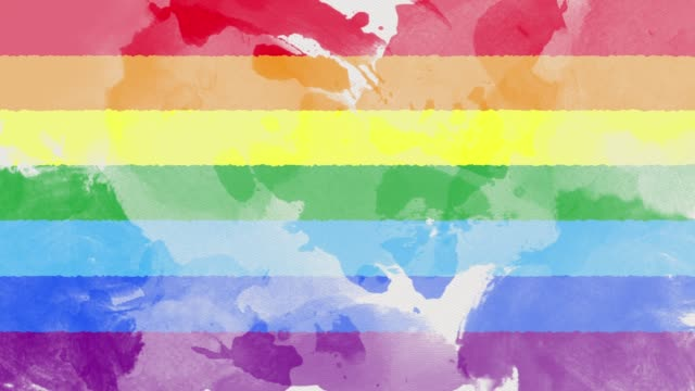 watercolor background with rainbow colors flag