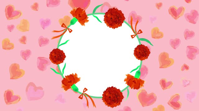 watercolor Carnation circle and hearts looping animation watercolor Carnation circle and hearts looping animation for mother's day mothers day stock videos & royalty-free footage
