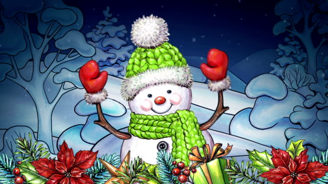 watercolor dancing cartoon snowman, Christmas greeting card, winter landscape, Happy New Year, festive garland and ornaments video