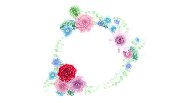 vídeos de stock, filmes e b-roll de o desenho da aguarela que cresce flores florais do fundo, florescendo o frame botânico do círculo, lugar redondo do título, aqua colore, animação, projeto de diy, intro, isolado no fundo branco, ideal para o título - estampa floral