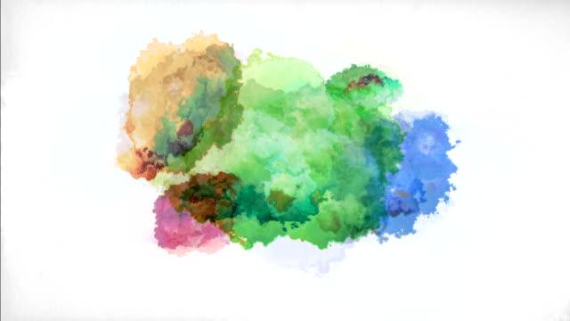 watercolor on paper - dipinto ad acquerelli video stock e b–roll