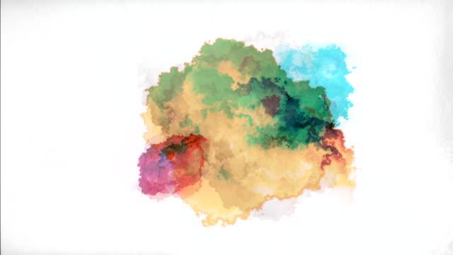 stockvideo's en b-roll-footage met aquarel verf druppels - bespatterd
