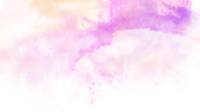 vídeos de stock, filmes e b-roll de céu de aquarela com nuvens. - pintura em aquarela