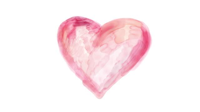 vídeos y material grabado en eventos de stock de película de lazo de lapso de tiempo acuarela. detener el movimiento corazón sobre fondo blanco - heart