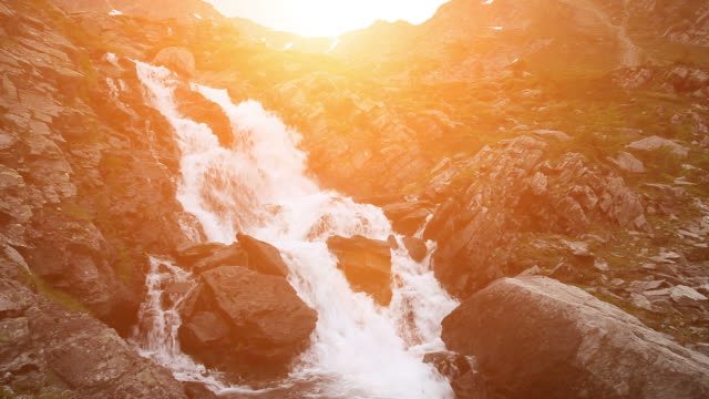 Waterfall at Sunset video