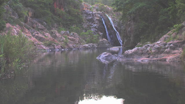 Waterfall flowing into the river