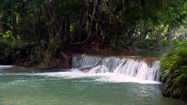vídeos de stock e filmes b-roll de waterfall in deep forest, thailand. - plano picado