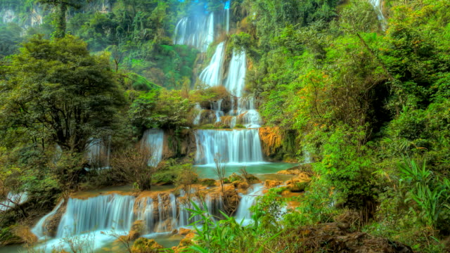 Waterfall in forest; HDR Time Lapse. video