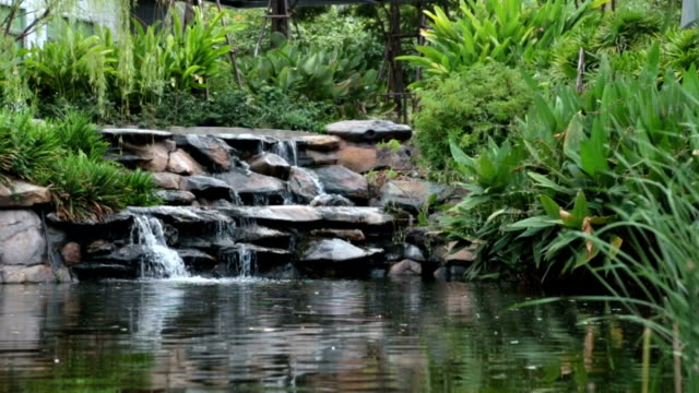 Waterfall in garden video