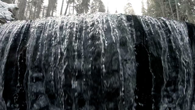 Waterfall in park, slow motion