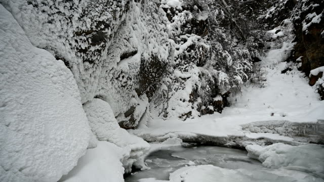 Waterfall in the winter in the mountains. video