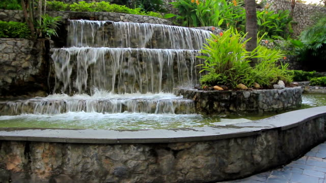 Waterfall in to backyard with tropical plant video