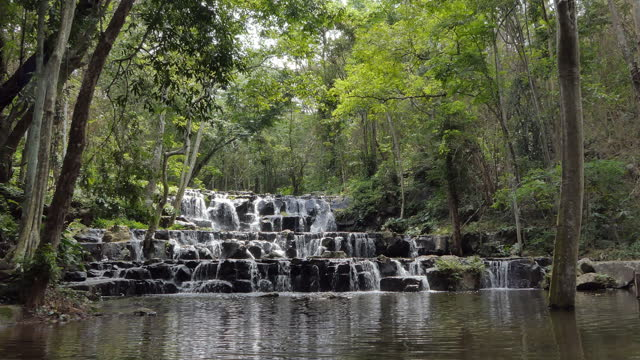 waterfall in tropical rain forest. 4K Resolution video