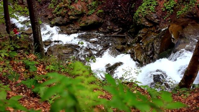 Waterfall mountain landscape. River flowing in mountainous area video