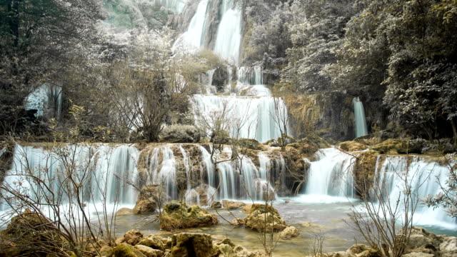 cascata nella foresta profonda theelorsu - attività equestre ricreativa video stock e b–roll