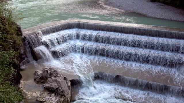 Waterfall, weirs, Lech, mountain stream, Lechfall, Füssen, Allgäu, bavaria, 4K video