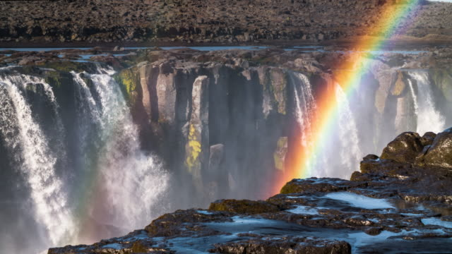Waterfall with Rainbow - Dettifoss Iceland video