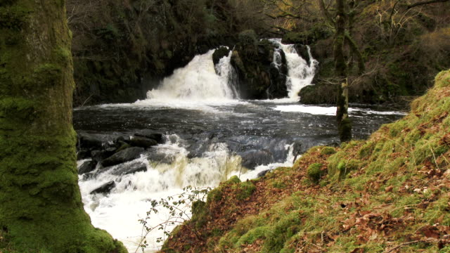 Waterfalls in a rural setting in Dumfries and Galloway, Scotland Waterfalls on a fast flowing small river in Dumfries and Galloway, south west Scotland. Shot on a February afternoon. This waterfall fall is known locally as Kirkconnell Linn dumfries and galloway stock videos & royalty-free footage