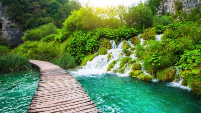 steadycam: waterfalls in plitvice lakes national park, croatia - национальный парк плитвицкие озёра стоковые видео и кадры b-roll