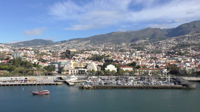 Waterfront - Funchal, Madeira View of the waterfront and marina in Funchal, Madeira. funchal stock videos & royalty-free footage