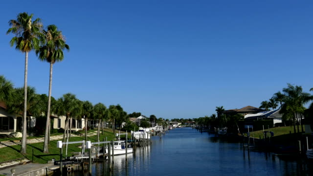 Waterfront homes on Florida canal video
