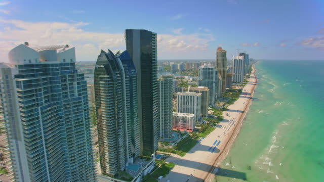 AERIAL Waterfront of the Sunny Isles Beach, FL