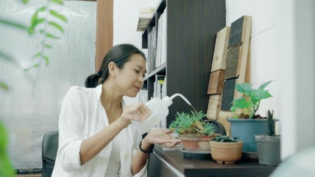 Watering little tree indoors video