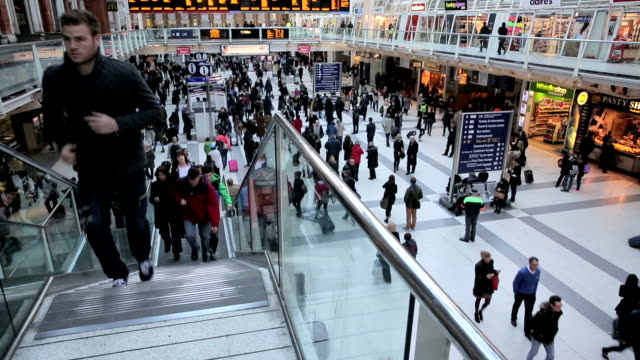 Waterloo station with busy crowd video