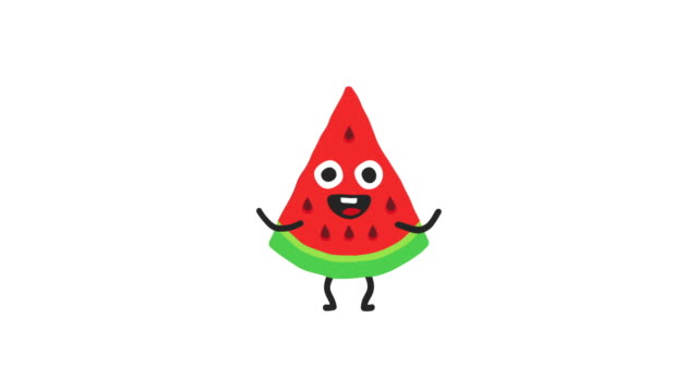 Watermelon funny character dances and smiles. Loop animation. Alpha channel.
