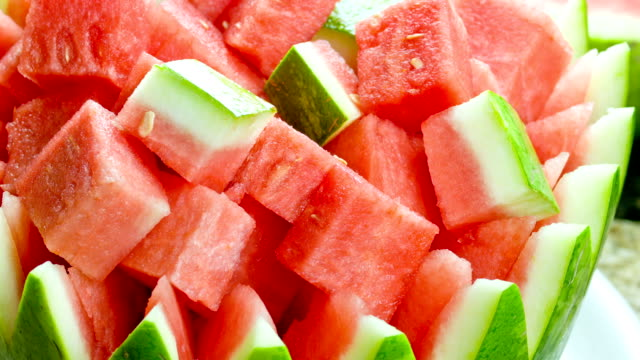Watermelon Salad Fresh watermelon in small slices watermelon stock videos & royalty-free footage
