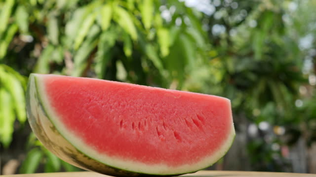 Watermelon slice turning slow motion Watermelon slice turning slow motion watermelon stock videos & royalty-free footage