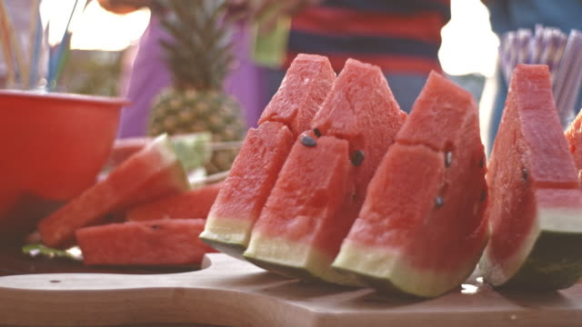 Watermelon slices on party table video