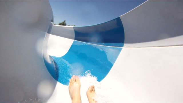 Waterslide Fun-POV In this shot you can see someone's feet going down a water slide and landing into a pool. This is a point of view shot. Shot in High Definition. angle stock videos & royalty-free footage