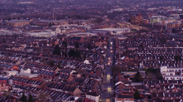 Watford, England at Twilight - Aerial View video