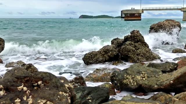 wave against rocks video