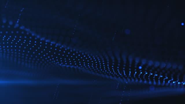 vídeos de stock e filmes b-roll de wave and particle background,blue color - sarapintado