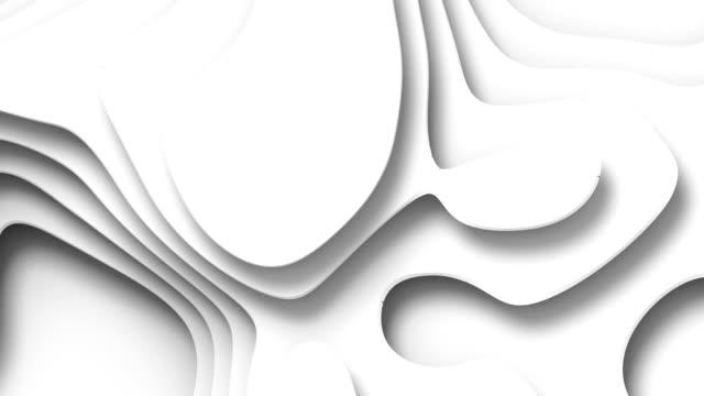 vídeos de stock, filmes e b-roll de a onda dobra a superfície abstrata branca do fundo. 3d renderização animação loop digital. resolução hd - relevo