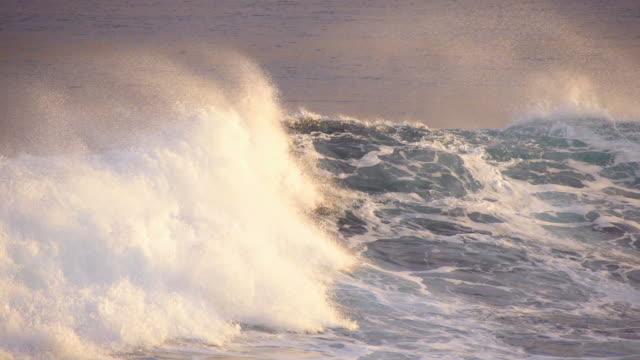 Wave breaking at sunrise light video