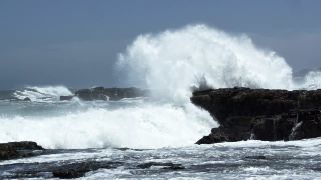 Wave crashes against rock video