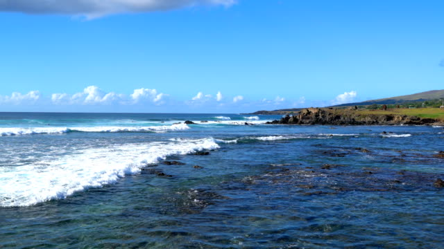 Wave in the Pacific Ocean at Easter Island video