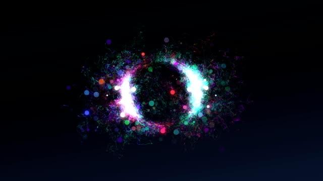 волны частиц перейти к центр circle loop - lightning стоковые видео и кадры b-roll