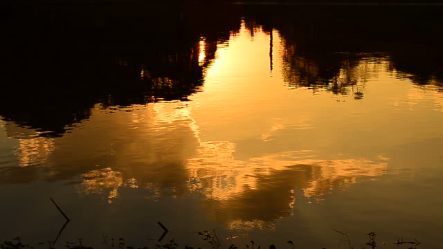 Wave Pattern on the Water with Sunset Reflection video