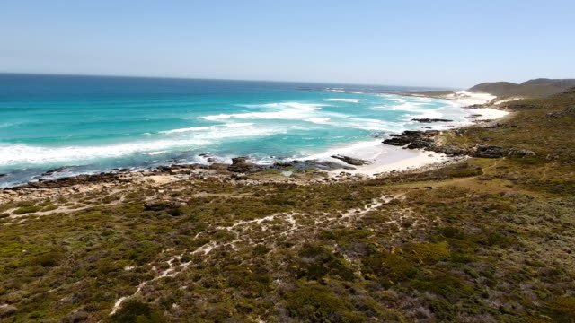 Waves and beach by the seaside from drone Waves and beach by the seaside from drone cape peninsula stock videos & royalty-free footage