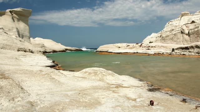 Waves At Sarakiniko Beach Waves At Sarakiniko Beach, Greece aegean islands stock videos & royalty-free footage