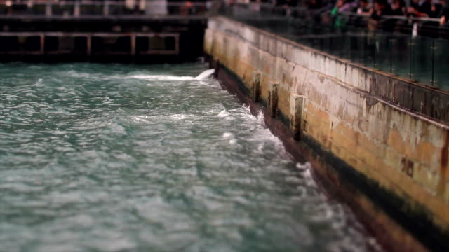 Waves Beat Against the Pier in Hong Kong video