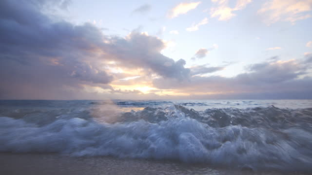Waves coming onto the sandy shore at sunset video