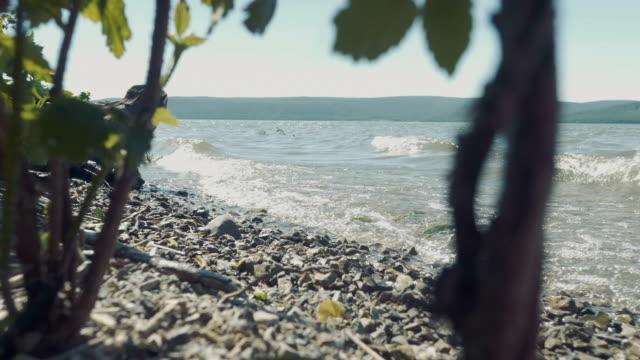 vågorna kraschar på en stenig strand. - lucia bildbanksvideor och videomaterial från bakom kulisserna