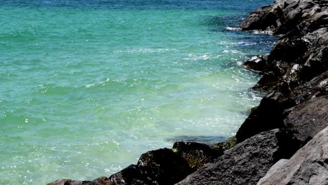 Waves crashing on rocks.